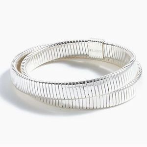J Crew Double Band Stretch Bracelet Silver Bangle